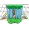 Piggy Perch in Frogs with Green Scallop and Soft Blue Drape