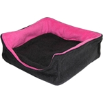 Square Bed in Black and Fuschia