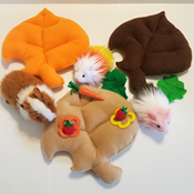 Fallen Leaf Plush bed showing cute piggy models